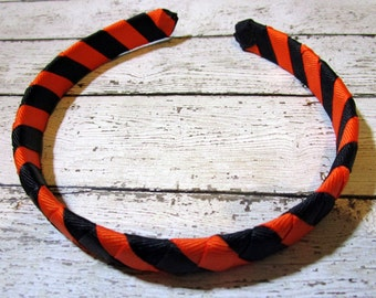 Headband, Ribbon Wrapped Headband, Wrapped Headband, Black Headband, Orange Headband, Fall Headband, Girls Headband, Ribbon Headband