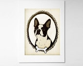 Boston Terrier Art Personalized Pet Portrait 5x7 digital art print, custom pet portrait, dog illustration, pet lover, dog lover,