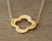Vermeil Brushed Clover Leaf Necklace- Simple everyday layering necklace
