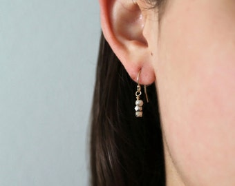 Sterling Nugget Earrings - On 14K Gold Filled Hooks - simple everyday minimalist wedding jewelry