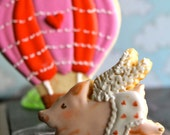 Flying Pig Decorated cookie, Cupid cookies,  hand decorated by the cookie couture on Etsy-  12 pieces