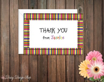 Thank You Cards - Rainbow Crayons - Set of 10 with Envelopes