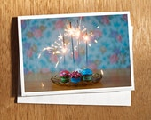 Unique Sparklers Birthday CARD, Unique Sparklers Celebration Card, Cute Birthday Card, Cute Celebration Card, Cupcakes, Sparklers, Vintage