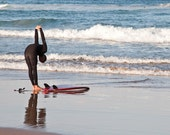 Stretching SURFER at the Beach 8 x 12 or 8 x 10 Print, Surf, Black, Surfer in Black Wetsuit, Ocean, Surfboard, Fins, Reflection, Male Surfer