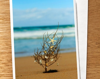 Starfish Tree on the Beach CHRISTMAS Photo CARD, Xmas Photography Card, beach Xmas Card, Driftwood Xmas tree, Beach, Starfish Xmas Tree