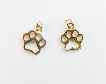 2 pcs Gold Vermeil Dog Paw charm (12X10mm),gold plated sterling silver