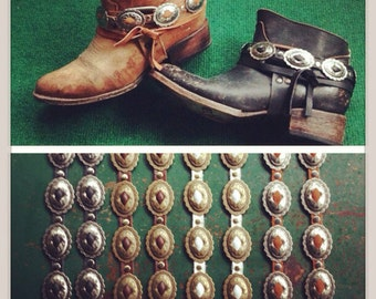 Concho Leather Boot Straps