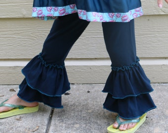 persian blue double ruffle leggings sizes 12m - 14 girls