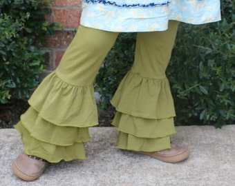 Olive green triple ruffle leggings sizes 12m - 14 girls
