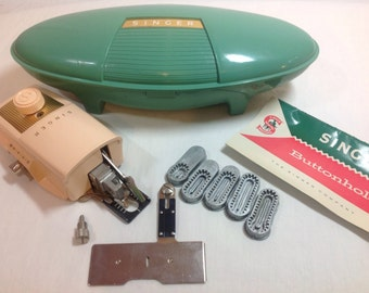 Vintage Singer Buttonholer No. 489500 or No. 489510 in Green box with templates and Instruction Book