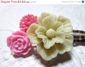 CLOSING SALE Bobby Pins Flowers Pink Ivory Set of 3