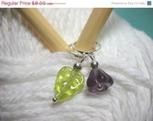 CLOSING SALE Stitch Markers Flowers Amethyst Purple Set of 5