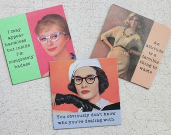 Funny Magnets Three  Sassy Sayings of Your Choice