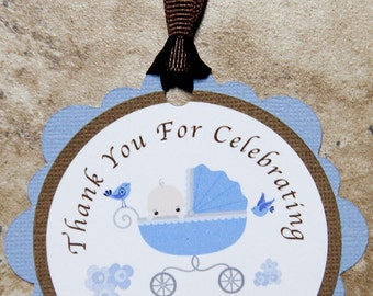 Baby Boy Baby Carriage Party Favor Tags for Birthday or Baby Shower- customizable (25 pack)