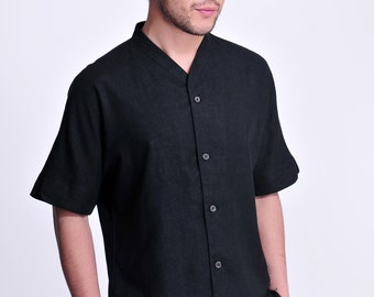 Black Amber / V neckline Linen Men's Shirt with Short Sleeve/ 13 Colors / ANY SIZE/ RAMIES