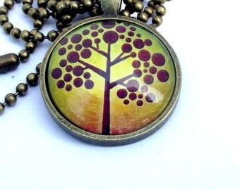 SALE. Maroon Tree of life pendant. Tree necklace. Antique brass chain. Spiritual and calming