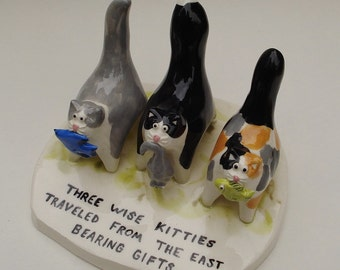 Three Wise Kitties traveled from the east bearing gifts - ceramic sculpture