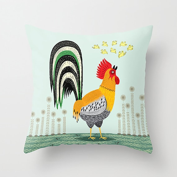 "When The Rooster Crows - Children's Decor - illustrated Cushion Cover / Throw Pillow (16"" x 16"") by Oliver Lake"