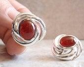 Sterling Carnelian Earrings Silver Mobius Swirl Birdsnest Pierced Post Vintage CW0137