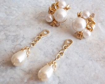 Pearl Dangle Earrings Cluster Gold Tone Posts Convertible Wedding Vintage 091313HE