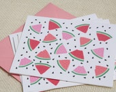 Illustrated Watermelon Slices Pattern Red Blank Folded Card Stationery Set - Set of 8 Cards and Envelopes