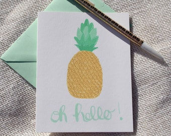 Illustrated Yellow and Mint Green Pineapple Oh Hello Blank Greeting Card