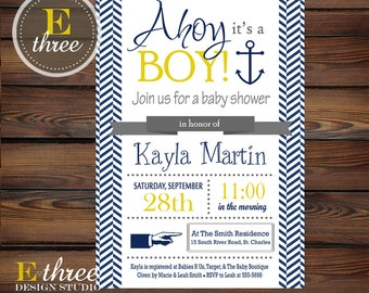 Nautical Baby Shower Invitation - Blue and yellow Boy's Baby Shower Invite - Sailor Shower Invitation