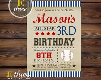 Printable Baseball Birthday Party Invitation - Red and Blue Vintage Boy's Baseball Birthday Party Invitation