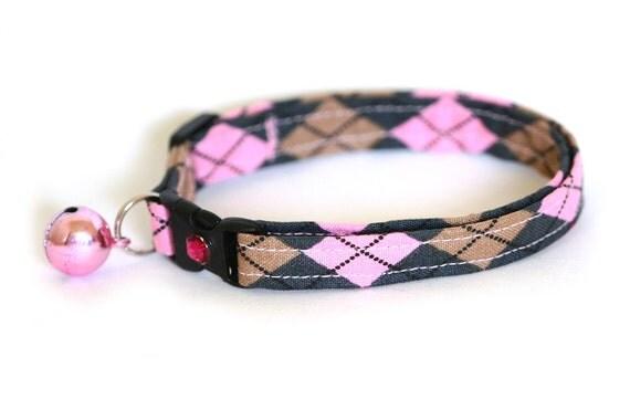 Cat Collar - Pink and Grey Argyle - Large Size Collar