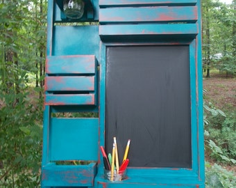 Message Center /Mail Organizer/Kitchen Decor/Office Decor /Magazine Holder/Family Message Board/ Chalkboard
