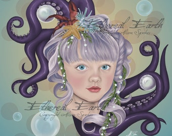 Portrait of a Merchild Tentacles Mermaid Child Bubbles - 9x12 Limited Edition Print