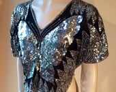 Vintage Sequin Embellished SILK BUTTERFLY Top M L