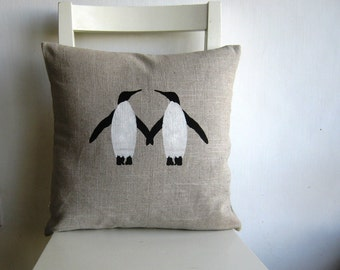 Two Penguins print 16 x 16 linen cushion cover