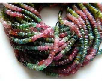 Multi Tourmaline Rondelle Beads, 4mm Faceted Rondelles, 13.5 Inch Strand