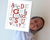 Modern Alphabet print in blues, reds, and grays