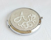 Monogrammed Compact mirror - cross stitch - hand embroidery - wedding favor - bridesmaids - i016