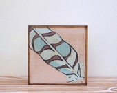 Feather Art Block l Blue Feather Southwest Geometric  5x5 wood block blue gray tribal pastel redtilestudio