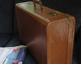 Antosek Vintage 1940s Leather Suitcase Chocolate Brown