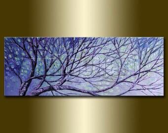 Original Birch Landscape Painting Oil on Canvas Textured Palette Knife Contemporary Modern Tree Art Seasons 15X40 by Willson Lau