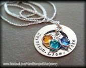 Circle Of Love Hand Stamped Personalized 3 Names Mothers Grandmothers Necklace