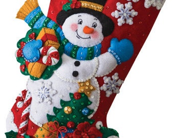 SNOWMAN with Presents and His Penquin Friend Felt Appliqued Chistmas Stocking