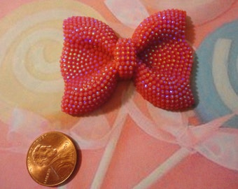 Kawaii girly red bow with rhinestones decoden deco diy charm - USA seller