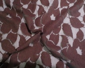 Brown on Black Floral Design Brushed Lace Fabric--One Yard
