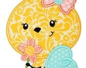 "Bee Flower Applique Design For Machine Embroidery, Shown with our ""Pigtail"" Font NOT Included,   INSTANT DOWNLOAD now available"
