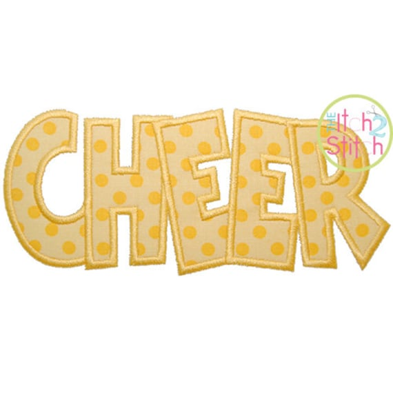 "CHEER Applique Design For Machine Embroidery, Shown with our ""Sweet Sixteen"" Font NOT Included,  Instant Downloads now available"