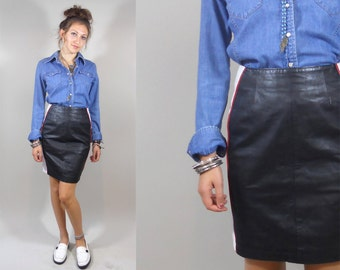 Vintage 1980s Black Leather Skirt / 80s Genuine Leather Pencil Skirt by Chia