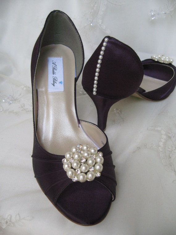 eggplant wedding shoes wedding shoes eggplant purple bridal shoes with pearl and 3842