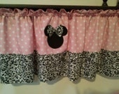 Minnie Mouse Polka Dot and Damask Curtain