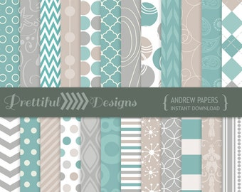 Digital Paper Pack Turquoise, Gray, Taupe Backgrounds - Personal and Commercial Use - Andrew