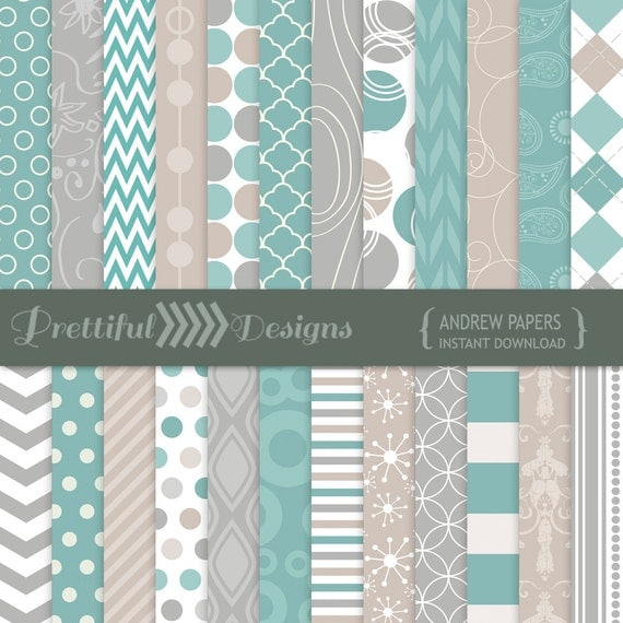 50% OFF SALE Digital Paper Pack Turquoise, Gray, Taupe Backgrounds - Personal and Commercial Use - Andrew (814)